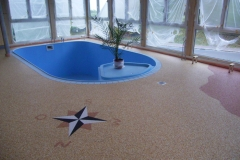 Innenbereich Poolumrandung Flow Sanierung Marmor Sonnengelb