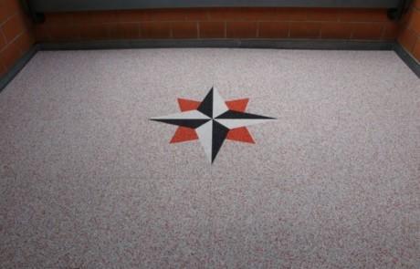 Balkon Boden mit Intarsie